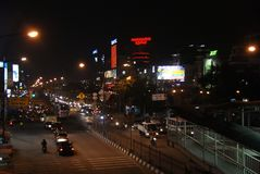 City at night. Jakarta city at night bustling with cars and traffic honking stock image