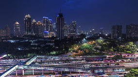 Jakarta city panorama. Jakarta downtown panoramic at dusk royalty free stock photo