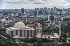 Jakarta city panorama. Jakarta downtown panoramic from nacional monument stock photography