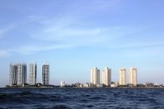 Jakarta City scenery by the sea Stock Images