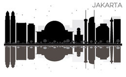 Jakarta City skyline black and white silhouette with reflections Stock Image