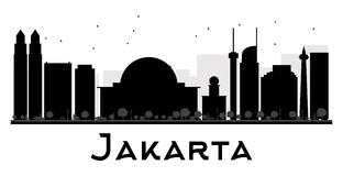 Jakarta City skyline black and white silhouette. Royalty Free Stock Photo