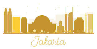 Jakarta City skyline golden silhouette. Royalty Free Stock Photos