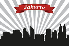 Jakarta city skyline with rays background and ribbon Royalty Free Stock Image