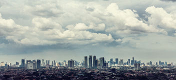 Jakarta city view with Kampung Stock Image