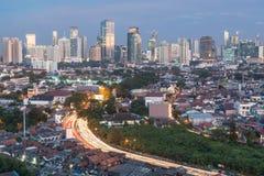 Jakarta cityscape Arkivbilder