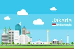 Jakarta cityscape vektor illustrationer