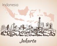Jakarta cityscape sketch. Royalty Free Stock Photo
