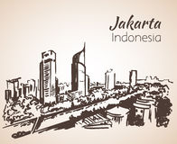 Jakarta cityscape sketch. Royalty Free Stock Images