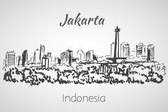 Jakarta cityscape sketch. Stock Image