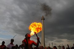 Jakarta Festival at National Monument Monas Royalty Free Stock Image