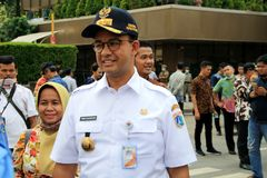 Jakarta Governor. Jakarta, Indonesia - May 23, 2019: Jakarta Governor Anies Baswedan visited the Sarinah crossroad near of the Elections Supervisory Agency stock photos