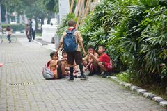 Elementary Boys and Girls Scout. Jakarta heat kids congregate during recess time. Elementary kids enjoy their friendships Royalty Free Stock Image