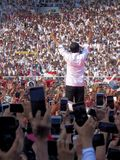 Candidates for President Joko Widodo campaign in front of hundreds of thousands of supporters at GBK Senayan. stock photos