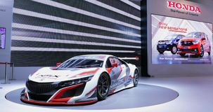 New Honda NSX GT3 racing car at exhibition. JAKARTA, Indonesia - April 27, 2018: A new Honda NSX GT3 racing car displayed in Honda booth at Indonesia