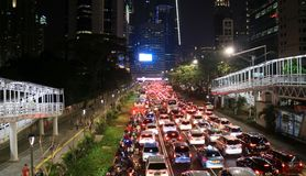 Traffic Jam in Jakarta. Jakarta, Indonesia - August 31, 2018: Traffic jam in rush hours at Jalan Sudirman at Friday night royalty free stock photo