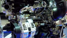Detail of car engine in exhibition stock video footage