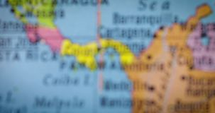 Map of Panama country on the globe. JAKARTA - Indonesia. February 09, 2018: Closeup of a globe with map of Panama country, one of Central America countries. Shot stock video footage