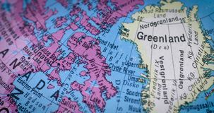 Greenland region map on the globe