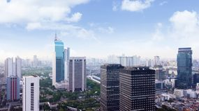 Aerial view of Jakarta modern buildings. JAKARTA, Indonesia. January 27, 2018: Aerial view of Jakarta modern buildings in Sudirman CBD area stock image