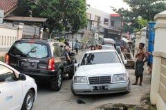 Jakarta, Indonesia - 30 maggio 2014: Le strade nel nitrito più carente Fotografie Stock