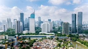 Panoramic view of Jakarta cityscape with residential houses, modern office and apartment buildings. JAKARTA - Indonesia. March 12, 2018: Panoramic view of stock images