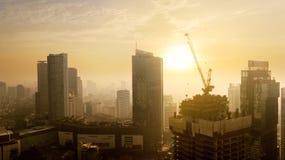 Beautiful high buildings under light of sunset. JAKARTA - Indonesia. May 21, 2018: Beautiful high buildings in Jakarta downtown under light of sunset Stock Images