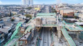 Construction project of station and railway tracks. JAKARTA - Indonesia. May 21, 2018: Construction project of station and railway tracks for Light Rail Transit Stock Photos