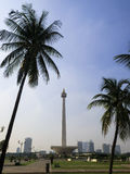 Jakarta, Indonesia: Merdeka Square view of Jakarta skyline and National Monument Stock Photos