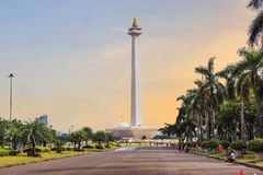 Jakarta, Indonesia, national monument Monas. The national monument, or Monas, is a 137-meter tower in the center of Jakarta, symbolizing Indonesia`s struggle stock image
