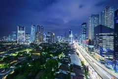 Jakarta cityscape in Kuningan CBD. JAKARTA, Indonesia. November 06, 2017: Aerial Jakarta cityscape in Kuningan Central Business District at night Stock Images