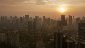 Aerial view of Semanggi highway with high buildings at sunset royalty free stock image