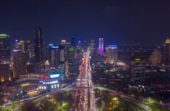 Jakarta city with modern office buildings at night stock photography