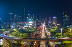 Night view of traffic jam along the Sudirman highway royalty free stock photos