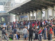 Jakarta urban transportation. JAKARTA, INDONESIA - October 3, 2017: Crowd of people waiting for commuter line train at Duri Station Stock Image