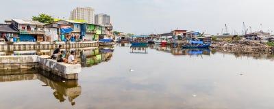 Fishing old harbor Jakarta, Indonesia stock image