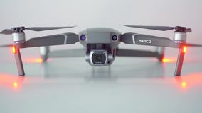 New Dji Mavic 2 pro drone in the studio. JAKARTA, Indonesia - October 09, 2018: New Dji Mavic 2 Pro drone with Hasselblad camera in the studio, isolated on white stock video