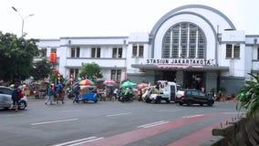 Crowded Jakarta Kota Train station stock video footage