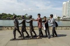 Jakarta Indonesien - mars 16, 2016: Ancol strand i Jakarta Arkivfoto