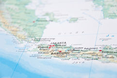 Jakarta, Java, Indonesia, Close-Up of Map. Macro of Jakarta, Java, Indonesia, Close-Up of Map royalty free stock photography