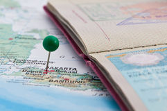Jakarta, Java, Indonesia, GreenPin and Passport, Close-Up of Map. Macro, Jakarta, Java, Indonesia, Green Pin and Passport, Close-Up of Map royalty free stock image