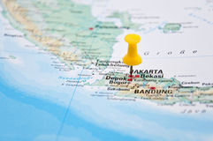 Jakarta, Java, Indonesia, Yellow Pin, Close-Up of Map. Macro of Yellow Pin, Jakarta, Java, Indonesia, Close-Up of Map royalty free stock image