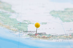 Jakarta, Java, Indonesia, Yellow Pin, Close-Up of Map. Macro of Yellow Pin, Jakarta, Java, Indonesia, Close-Up of Map stock images