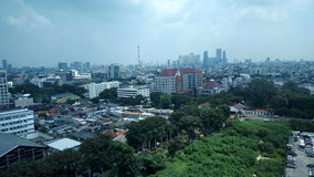 Jakarta landscape. Jakarta look in the sky under cloud Stock Image