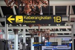 jakarta 27 mai 2017 Panneau de signe de départs chez Soekarno-Hatta Photos libres de droits
