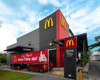 Jakarta, 24 March 2019 : McDonald Outlet with Drive Thru Facility at Newly Develop Commerical Area Summarecon Mall. Jakarta, 24 March 2019 : McDonald Outlet with royalty free stock images