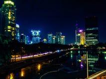 Jakarta nattcityscape Royaltyfri Bild