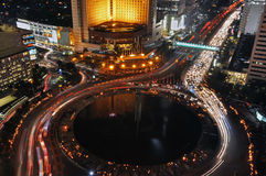 Jakarta night. View of jakarta night from above at welcome statue, central jakarta, indonesia stock photography