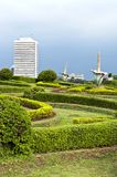 Jakarta Park. Green Jakarta park in Indonesia with flower statue stock image
