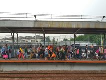 Jakarta-Serpong Commuters. Commuters were going home by local train on the evening in Serpong Tangerang, Indonesia Stock Photo